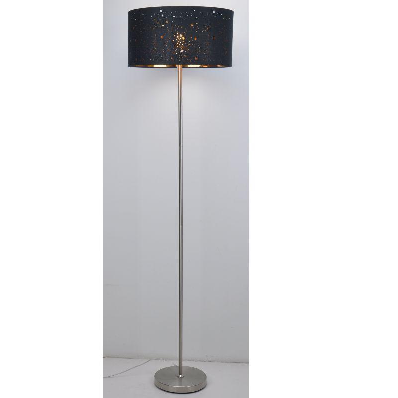 Lampa de podea cu nuanță din material negru tăiat cu laser