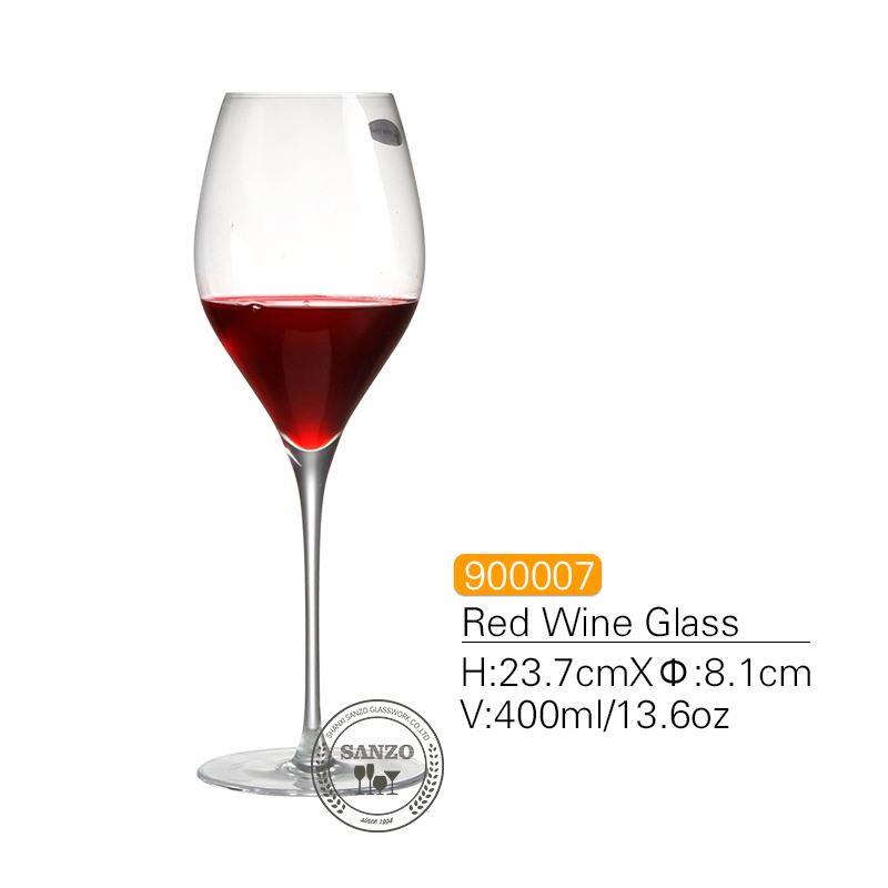 SANZO Stem negru Lismore Balon Pahar de vin Ochelari lucrați manual fără cristal Ochelari groși