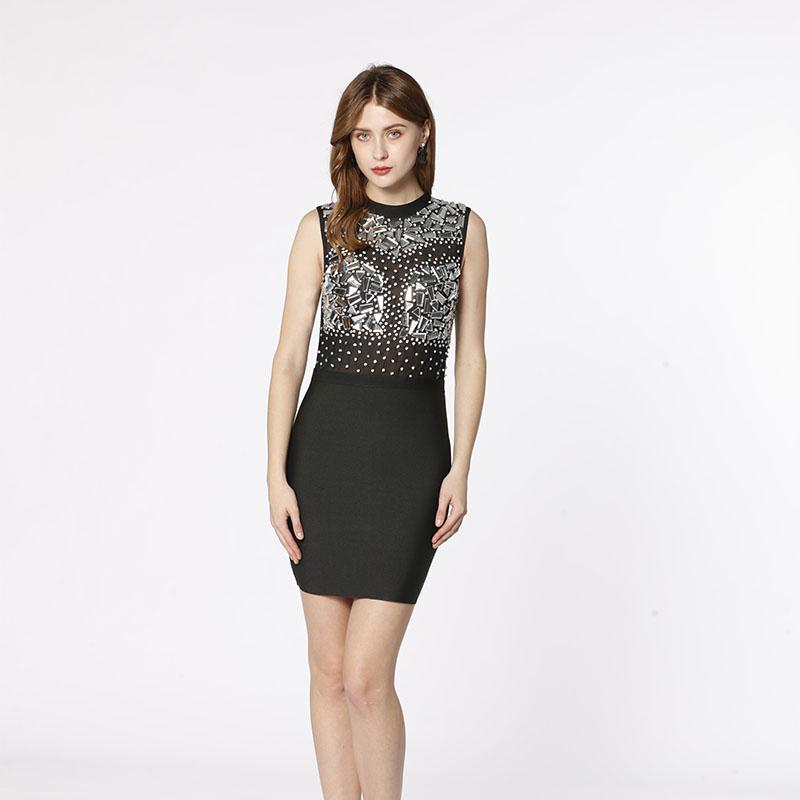 Fabrica OEM plasa neagră văd prin rochie de cristal diamantă elegantă cu bandaj, confecționată manual din diamant