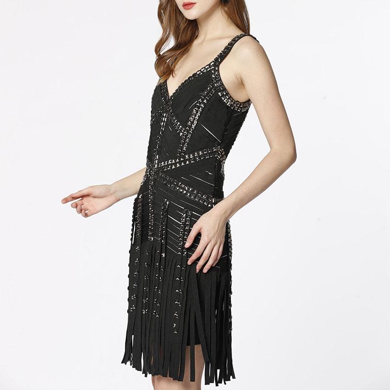 Nitelă de lux realizată manual, bodycon pentru femei, curea de cocktail cu ciucuri de seară petrecere pentru femei rochie bandaj